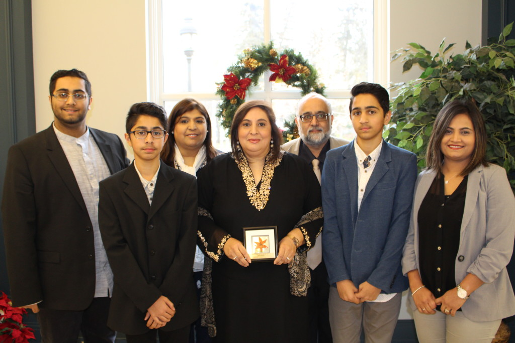 The recipient of the 2016 Betty Szuchewycz Award is Faeeza Moolla who will also select a charity for a donation of $500 from MCoS. Faeeza has contributed to multiculturalism in Saskatchewan through all five streams of multicultural work. She is pictured here with her family and friends.